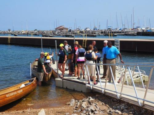 Canoes/Kayaks can also dock along side the launch